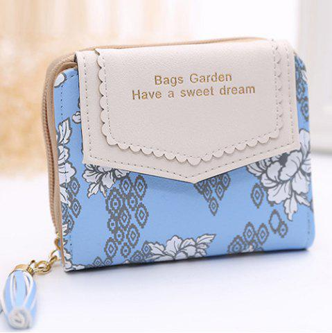 Sale Floral Print Tassels Small Wallet - BLUE  Mobile