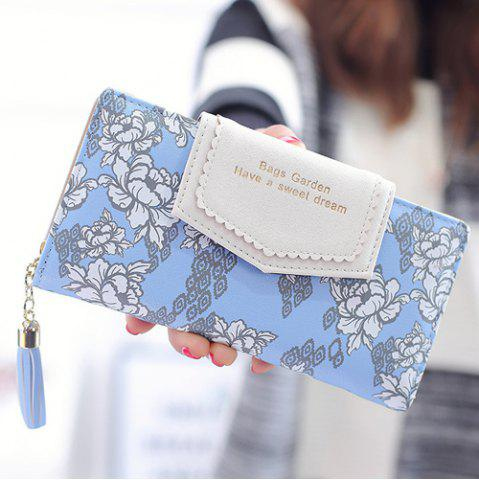 Latest Flower Print Tassels Clutch Wallet BLUE