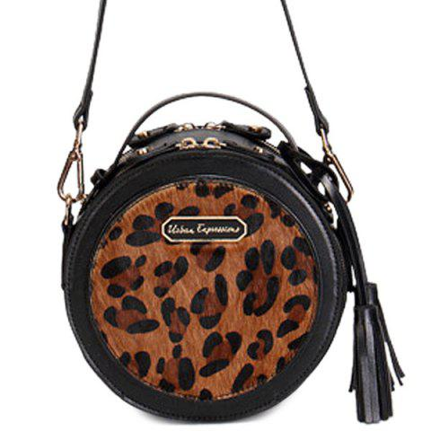 Unique Round Leopard Print Tassels Crossbody Bag