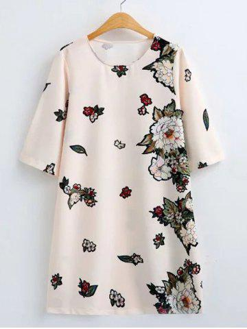 Fashion Flower Print Loose-Fitting Shift Dress