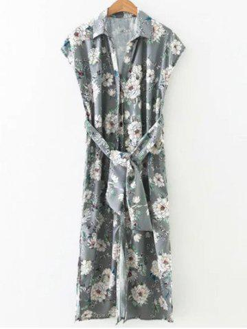 Side Slit Blossom Floral Button Up Longline Shirt Dress - Gray - L