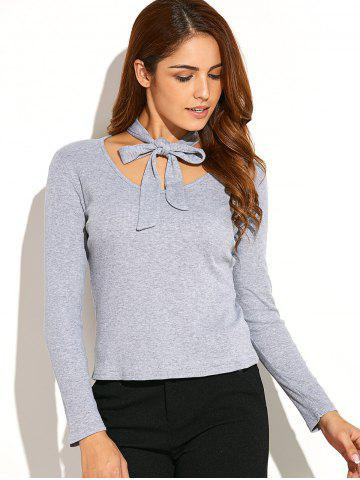 Neck Tie Ribbed Knitwear