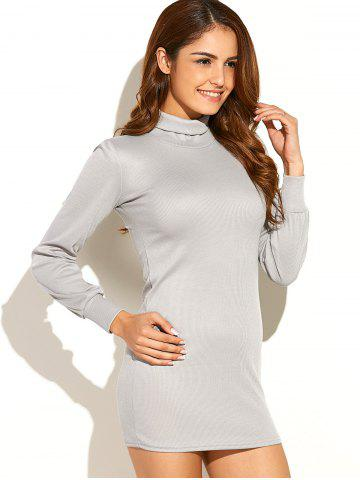 Outfits Turtleneck Ribbed Roll Neck Jumper Dress LIGHT GRAY XL