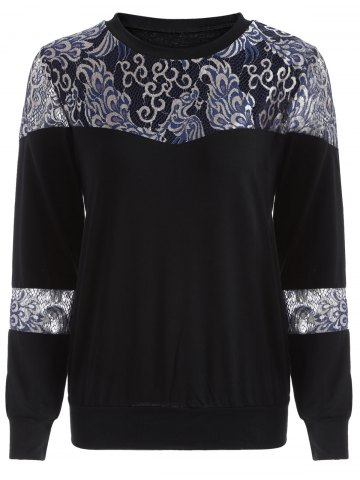 New Loose Embroidered Lace Spliced Tee BLACK 2XL