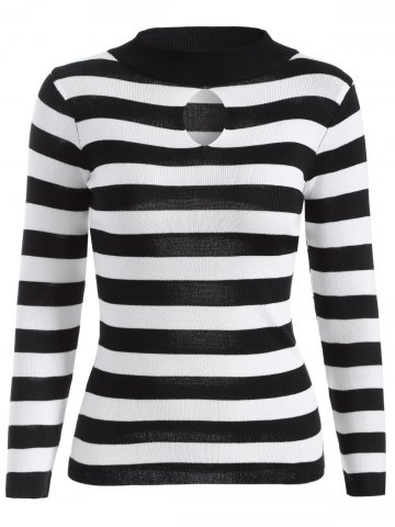 Outfits Keyhole Ribbed Sweater BLACK STRIPE ONE SIZE