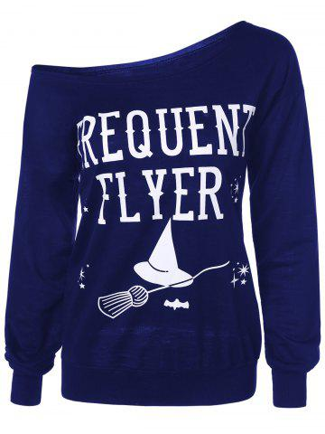 Sale Letter Skew Neck Sweatshirt