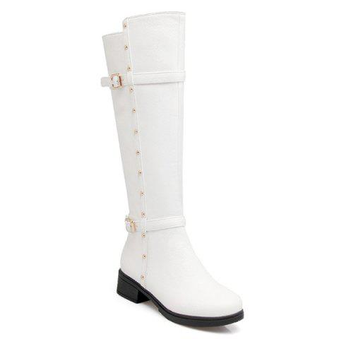 Studded Double Buckle Zipper Knee High Boots - White - 38