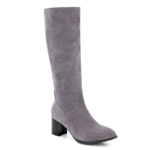 Latest Pointed Toe Suede Zip Boots GRAY 39