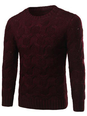 Fancy Crew Neck Geometric Kink Design Long Sleeve Sweater