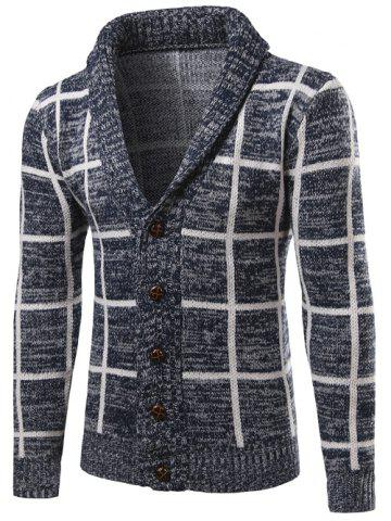 Online Shawl Collar Button Up Checked Cardigan CADETBLUE L