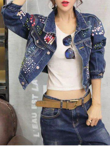 Hot Sequined Personality Cropped Thin Jean Jacket DENIM BLUE 2XL