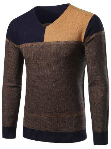 Best V-Neck Color Block Splicing Sweater CADETBLUE 2XL