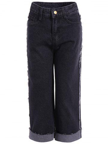 Store High Waisted Frayed Hemming Jeans