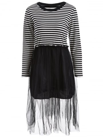 Latest Mesh Spliced Striped Faux Twinset Sweater Dress