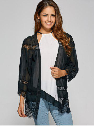 Store Lace Spliced Cut Out Kimono