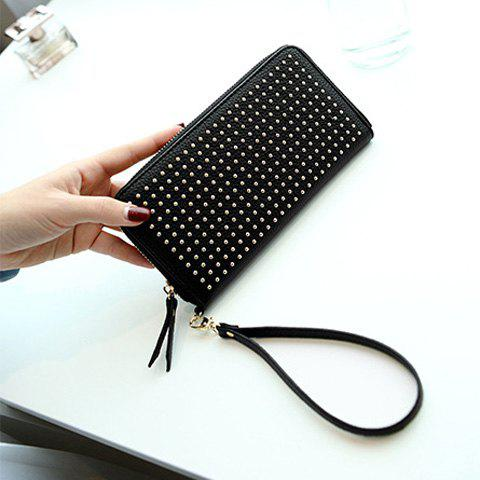 Shop Rivet Studs Zip Around Wristlet Wallet - BLACK  Mobile