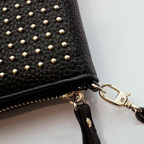 Affordable Rivet Studs Zip Around Wristlet Wallet - BLACK  Mobile