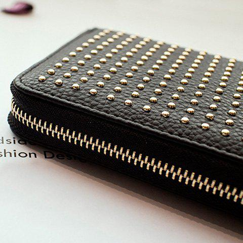 Fancy Rivet Studs Zip Around Wristlet Wallet - BLACK  Mobile
