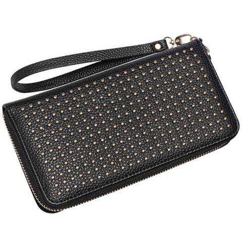 New Rivet Studs Zip Around Wristlet Wallet - BLACK  Mobile