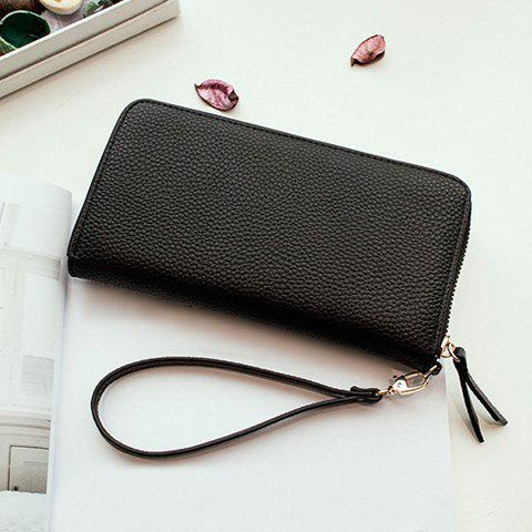Online Rivet Studs Zip Around Wristlet Wallet - BLACK  Mobile