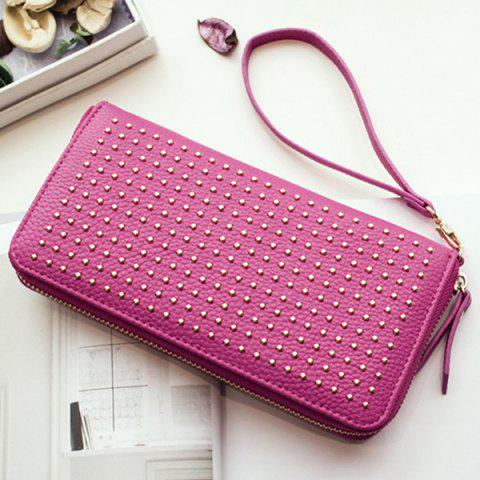 Store Rivet Studs Zip Around Wristlet Wallet