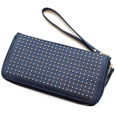 Shop Rivet Studs Zip Around Wristlet Wallet