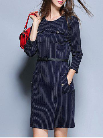 Sale Striped Pockets Belted Pencil Dress BLUE XL