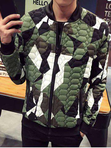 Stand Collar Plus Size Color Block Splicing Zip-Up Cotton-Padded Jacket - Green - S