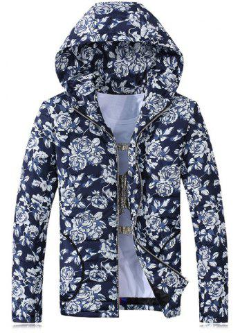 Outfit Hooded Rose Print Zip-Up Cotton-Padded Jacket BLUE 3XL