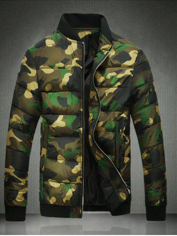 Stand Collar Plus Size Camouflage Zip-Up Cotton-Padded Jacket - Green - M