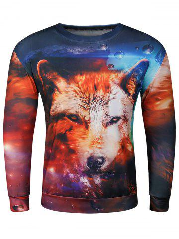 Shops 3D Wolf Starry Sky Print Long Sleeve Crew Neck Wolf Hoodie COLORMIX 2XL