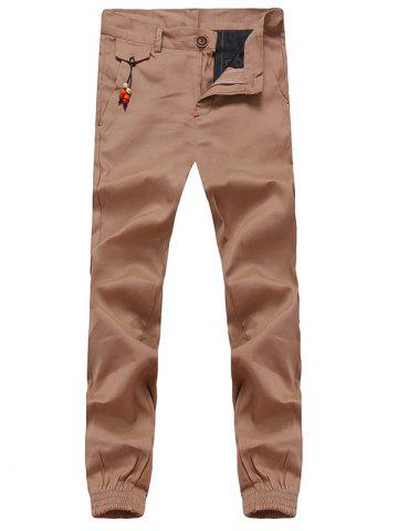 Affordable Beading Embellished Zipper Fly Chino Jogger Pants