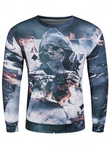 Affordable 3D Devil Skeleton Poker A Print Long Sleeve Sweatshirt GRAY 3XL