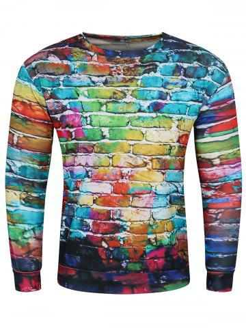 Online 3D Doodles Wall Print Long Sleeve Crew Neck Sweatshirt COLORMIX 3XL