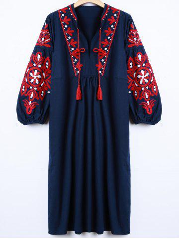 Unique Casual Lantern Sleeve Embroidered Dress CADETBLUE L