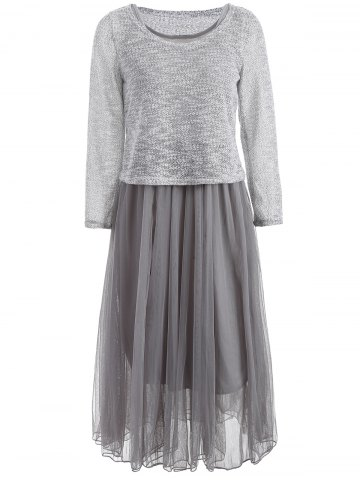 Affordable Mesh Spliced Tank Dress With Long Sleeve Knitwear Twinset GRAY ONE SIZE