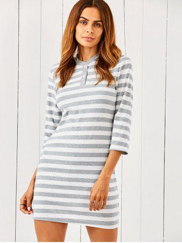 Outfits 3/4 Sleeve Striped Sweater Dress
