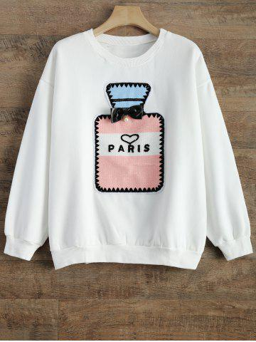 Unique Crew Neck Perfume Bottle Patch Fleece Sweatshirt