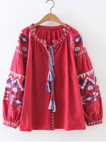 Discount Puff Sleeves Tasseled Geometric Embroidered Blouse