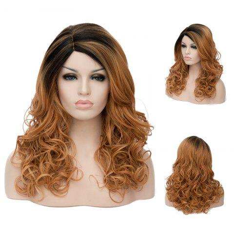 Chic Long Highlight Side Parting Wavy Synthetic Wig
