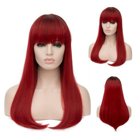 Chic Long Tail Adduction Neat Bang Straight Ombre Synthetic Wig COLORMIX