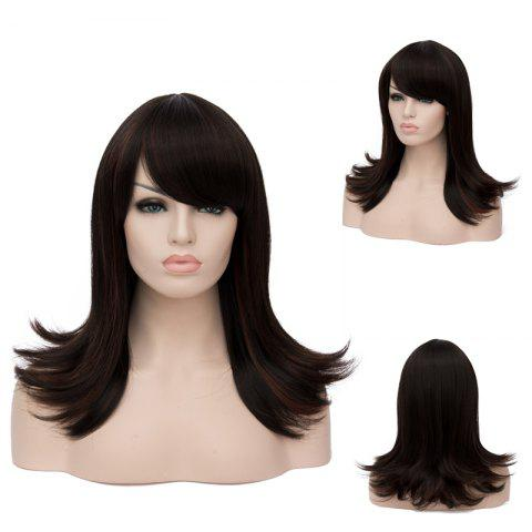 Latest Long Oblique Bang Straight Tail Upwards Highlight Synthetic Wig COLORMIX