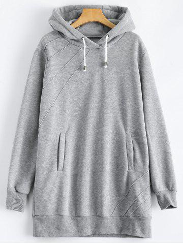 Fancy Pullover Hoodie with Pockets GRAY 2XL