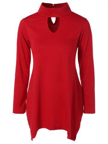 Hollow Out Asymmetric Top - RED L