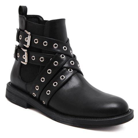 Fancy Double Buckle Eyelets Cross Straps Ankle Boots