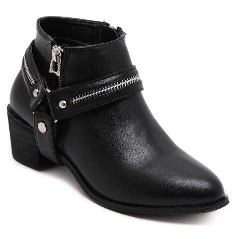 Outfit Pointed Toe Zip Metal Ankle Boots BLACK 40
