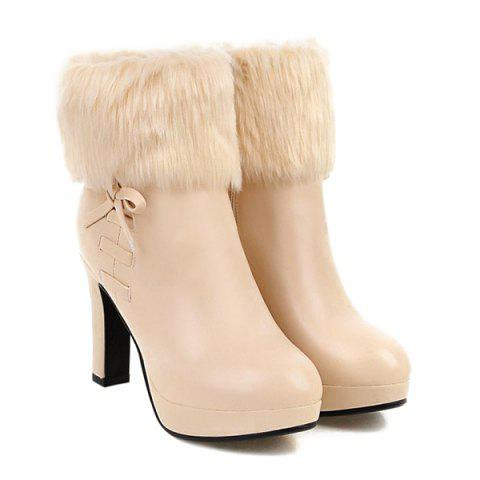 Bow Faux Fur Platform Ankle Boots - Light Apricot - 39