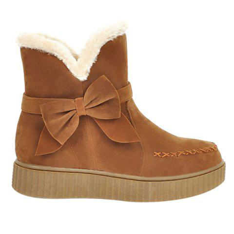 Cheap Suede Bowknot Stitching Snow Boots BROWN 39