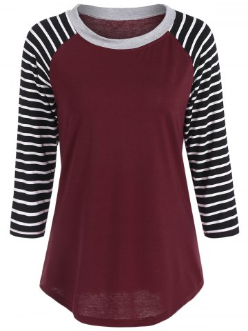 Crew Neck Striped Tee - Red - M