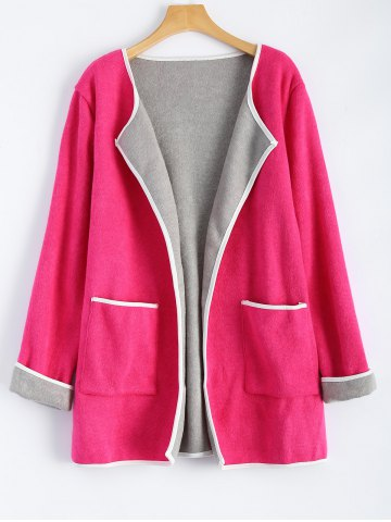 Trendy Stereo Patchwork Plus Size Cardigan With Pockets